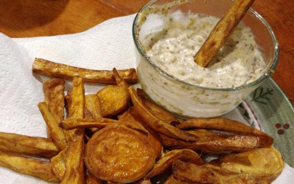 "Sweet Potato Fries with ""Honey"" Mustard Sauce"