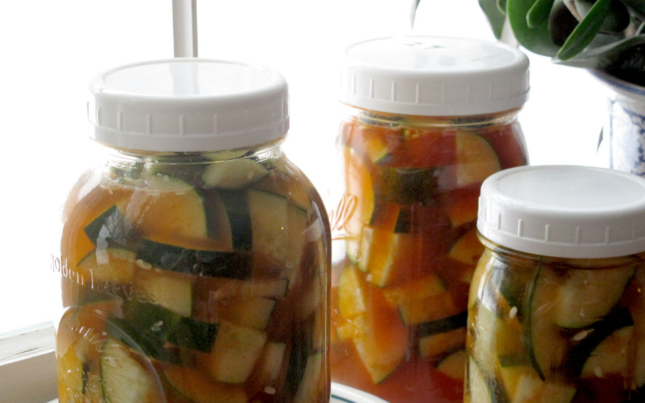 Three jars of Korean-Style Pickled Cucumbers